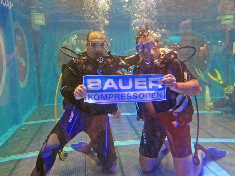"First diving experience for Richard Schmidt (BAUER GROUP) at the ""boot"" divecenter, enjoying  BAUER breathing air"